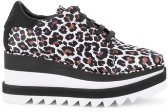 Stella McCartney Sneak-Elyse Animal-Print Platform Wedge Sneakers