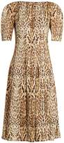 ADAM by Adam Lippes Ocelot leopard-print cotton midi dress