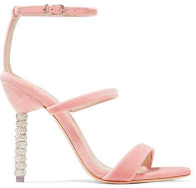 Sophia Webster Rosalind Crystal-embellished Velvet Sandals - Antique rose
