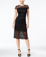 Kensie Short-Sleeve Lace-Contrast Dress