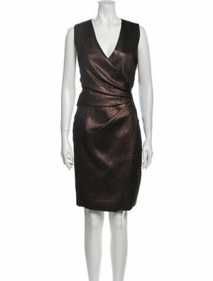 J. Mendel V-Neck Knee-Length Dress Gold