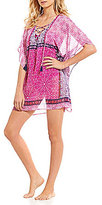 Tommy Bahama Geo Tiles Lace-Up Tunic