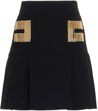 Elisabetta Franchi Chain Embroidered Logo Mini Skirt