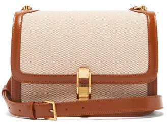 Saint Laurent Carre Leather And Canvas Cross-body Bag - Womens - Beige Multi