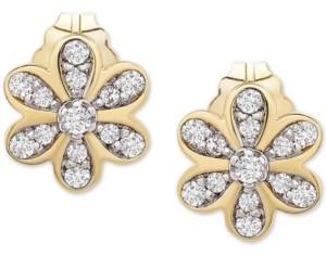 Wrapped Diamond Flower Stud Earrings (1/10 ct. t.w.) in 14k Gold, Created for Macy's