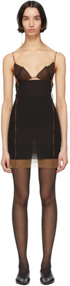 Nensi Dojaka SSENSE Exclusive Black and Brown Silk 7 Dress