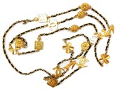 Chanel 18K Gold Plated Signature Motif Leather Chain Necklace