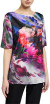 St. John Floralscape Printed Short-Sleeve Charmeuse Top