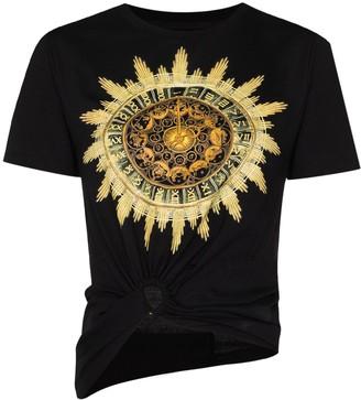 Paco Rabanne Sundial print knot-detail T-shirt