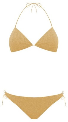 Oseree Lumiere Metallic Triangle Bikini - Womens - Gold