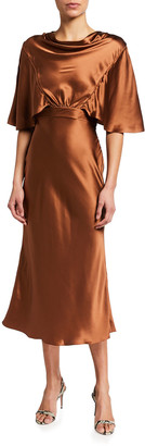 Safiyaa Cowl-Neck Flutter-Sleeve Satin Midi Dress