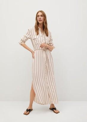 MANGO Striped shirt dress off white - 2 - Women