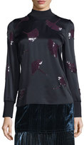 3.1 Phillip Lim Long-Sleeve Gingko-Embellished Satin Top, Midnight