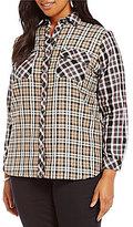 Intro Plus 3/4 Sleeve Cotton Mixed Plaid 2-Pocket Button Front Shirt