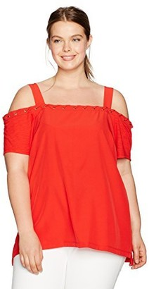 Love Scarlett Women's Plus Size Square Neck Eyelet Top