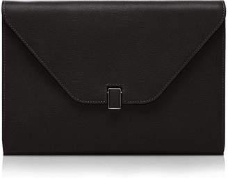 Valextra Leather Tablet Cover/Clutch Bag, Black