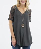 Lydiane Women's Tunics CHARCOAL - Charcoal V-Neck Lace-Sleeve Curved-Hem Hi-Low Tunic - Women