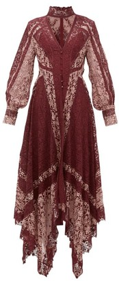 Jonathan Simkhai Embroidered-lace Handkerchief-hem Dress - Womens - Burgundy Multi