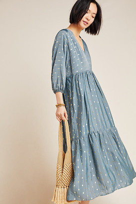 Anthropologie Napoli Tiered Maxi Dress By in Blue Size S