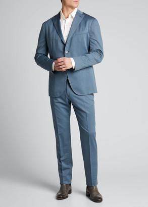 Boglioli Men's Solero Solid Wool-Cotton Two-Piece Suit, Cadet Blue