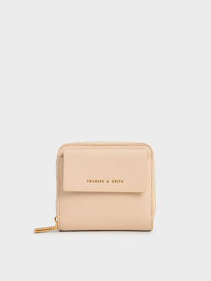 Charles & Keith Front Flap Zip-Around Mini Wallet