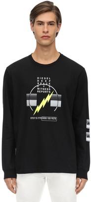 Diesel Bolt Print L/s Cotton Jersey T-shirt
