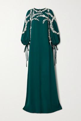 Oscar de la Renta Appliqued Silk-blend Gown - Emerald