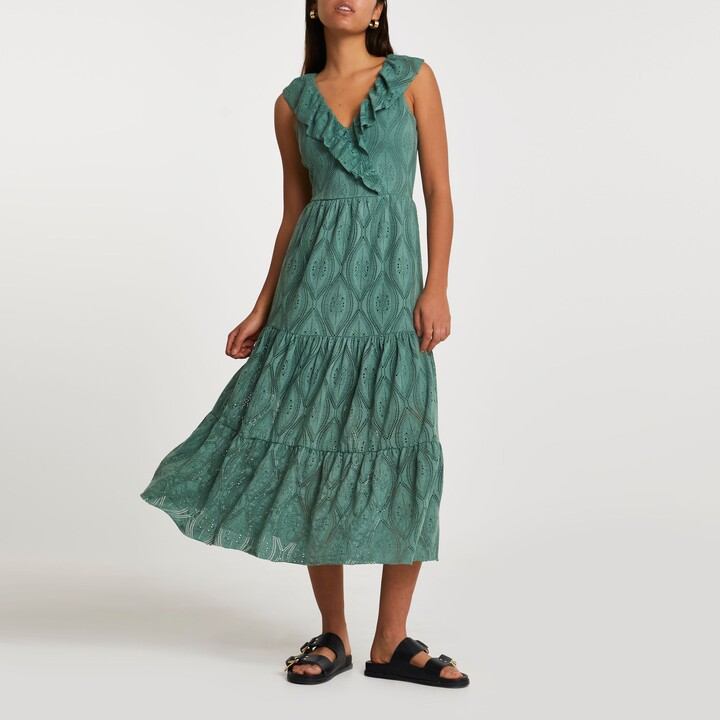 Thumbnail for your product : River Island Womens Green frill broidery smock midi dress