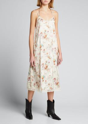 R 13 Lace-Up Floral Slip Dress
