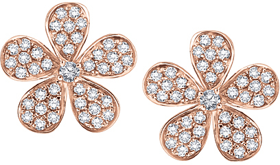 KC Designs Pink Gold and Diamond Flower Blossom Earrings