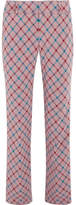 Marni Checked Brushed-twill Bootcut Pants - Lilac