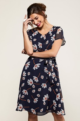 Yumi Navy Daisy Print Skater Dress