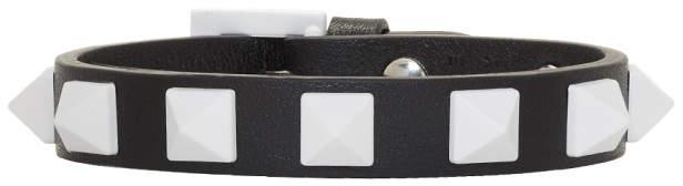 Valentino Black and White Garavani Rockstud Free Bracelet