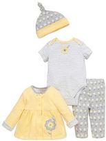 Offspring Babys Four-Piece Floral-Print Hat, Bodysuit, Dress and Pants Set