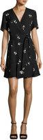 A.L.C. Micah Floral-Print Silk Dress, Black Pattern