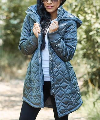 Steve Madden Women's Car Coats TITANIUM - Titanium Hooded Quilted Coat - Women & Plus