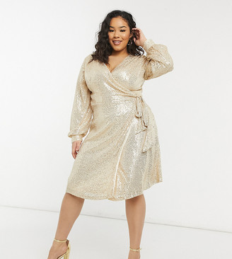 Chi Chi London Plus sequin wrap tie mini dress in light gold