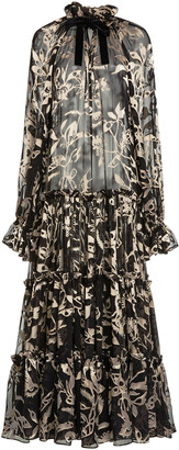 Zimmermann Ladybeetle Floral Silk Tie-Neck Maxi Dress