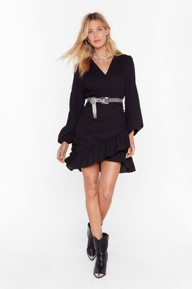 Nasty Gal Womens Party Wrap Mini Dress with Ruffle Detailing - Black