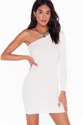 Nasty Gal Womens Take Rib as Rib Comes One Shoulder Mini Dress - Cream