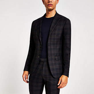 River Island Navy check skinny fit suit jacket