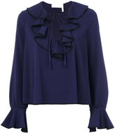 See by Chloe frill blouse - women - Polyester/Spandex/Elastane - 36