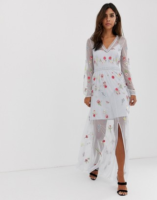 French Connection Christy Bloom embroidered maxi dress-Blue