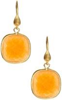 Rivka Friedman Orange Quartzite Faceted Cushion Dangle Earrings