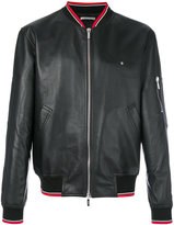 Christian Dior striped detail bomber jacket - men - Lamb Skin/Cupro - 56