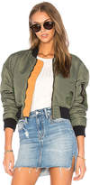 Hudson Rogue Cropped Bomber in Olive. - size L (also in M,S,XS)