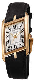 Bruno Magli Sofia Asymmetric Watch w/ Leather Strap, Black/Gold