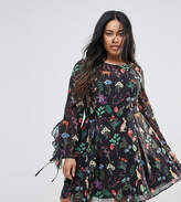 Unique 21 Hero Plus Tea Dress With Tie Ruffle Sleeves In Garden Floral Print