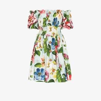 Dolce & Gabbana floral print off-the-shoulder mini dress