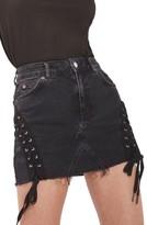 Topshop Women's Lace-Up Denim Miniskirt